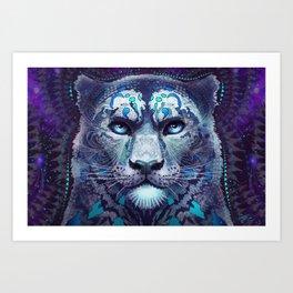 Snow Leopard Late Night Art Print