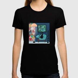 Creature Comforts Mid-Century Interior With Black Cat T-shirt