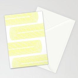 Minimalist, line art pattern, scandivian, modern minimal, sunny yellow Stationery Cards