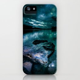 Magical Mountain Lake Dark Teal iPhone Case