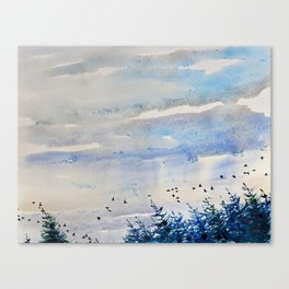 black birds, blue sky Canvas Print
