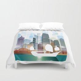 The city skyline of Hong Kong Duvet Cover