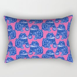 Chinese Guardian Lion Statues in Pottery Blue + Pink Rectangular Pillow
