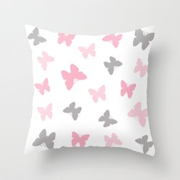 Pink and Grey Gray Butterflies Throw Pillow