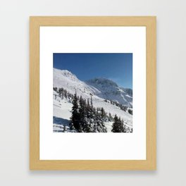Mountains color palette of white-black-blue Framed Art Print