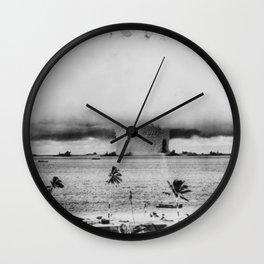Atomic Bomb Mushroom Cloud Operation Crossroads Baker Test Wall Clock