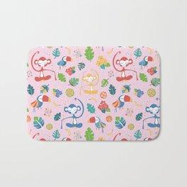 Meditating Yoga Jungle Animals Pink Bath Mat