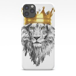lion with a crown power king iPhone Case