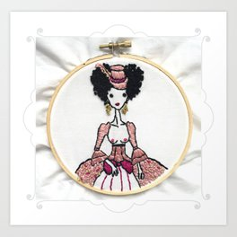 Embroidered Woman in Pink by Ms. Parasol Art Print