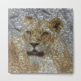 WordArt Lion Metal Print