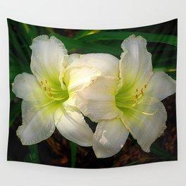 Glowing white daylily flowers - Hemerocallis Indy Seductress Wall Tapestry
