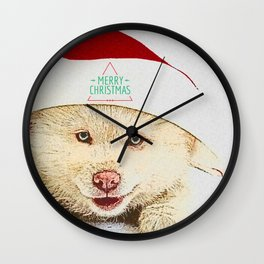 Dog wishes you a merry chrismas Wall Clock