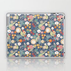 Colorful flowers on a denim background.  Laptop & iPad Skin