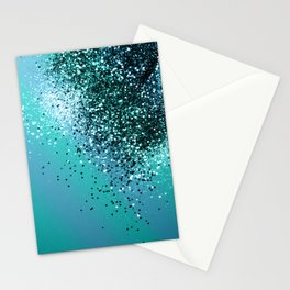 Aqua Blue OCEAN Glitter #1 #shiny #decor #art #society6 Stationery Cards