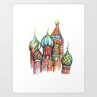 russia Art Prints featuring Russia by Lam Designs