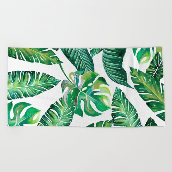 Jungle Leaves, Banana, Monstera #society6 Beach Towel