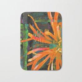Electric Floral Burst in Tangerine Bath Mat