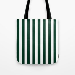 Narrow Vertical Stripes - White and Deep Green Tote Bag