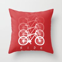 bikes Throw Pillows featuring Bikes by ClicheZero