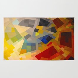 Otto Freundlich Komposition 1939 Mid Century Modern Abstract Colorful Geometric Painting Pattern Art Rug
