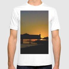 September Sunset at Brighton Pier Mens Fitted Tee MEDIUM White