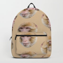 funny cute japanese macaque monkey pattern Backpack