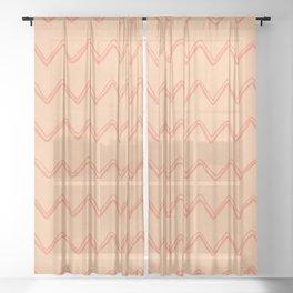 Moroccan Horizontal Stripe in Orange Sheer Curtain