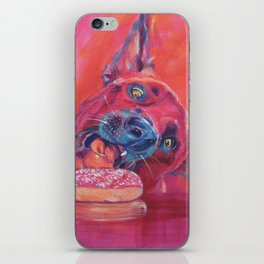 Dog getting closer to donut iPhone Skin