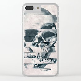 Glitch Skull Mono Clear iPhone Case