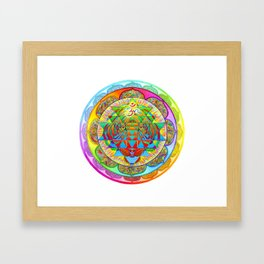 Inner Strength Psychedelic Tiger Sri Yantra Mandala Framed Art Print