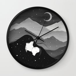 Mountain's Lullaby - Black & White Wall Clock