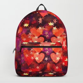 Hearts and stars Valentine bokeh lights sparkle - love heart red glam Backpack