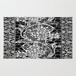 Vintage Lace Black and White Rug