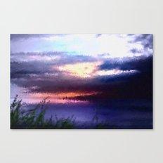 Coastal landscape and sunset. Canvas Print