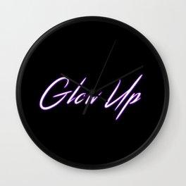 Glow Up! Glow text purple type Wall Clock