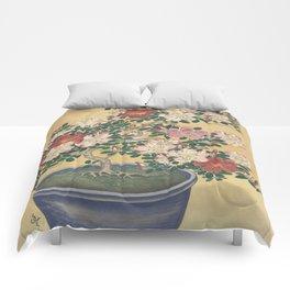 Blooming azalea in blue pot - Ohara Koson (1920 - 1930) Comforters