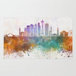 Seattle V2 skyline in watercolor background Rug