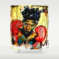 basquiat Shower Curtains featuring Basquiat by Ruby Chavez