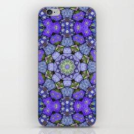 Garden mosaic kaleidoscope mandala - cool blues 2 iPhone Skin