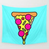 boyfriend Wall Tapestries featuring pizza is my boyfriend by molly ennis