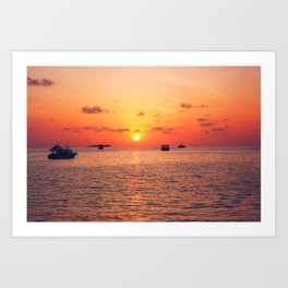 Sunset over The Maldives Art Print