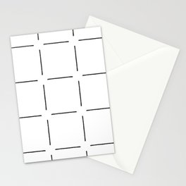 Block Print Simple Squares in Black & White Stationery Cards
