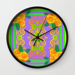 Opulent Golden Rose Bouquets Yellow-Green Purole  Pattern Wall Clock