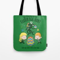 xenomorph Tote Bags featuring A Xenomorph Easter Special by Anna-Maria Jung