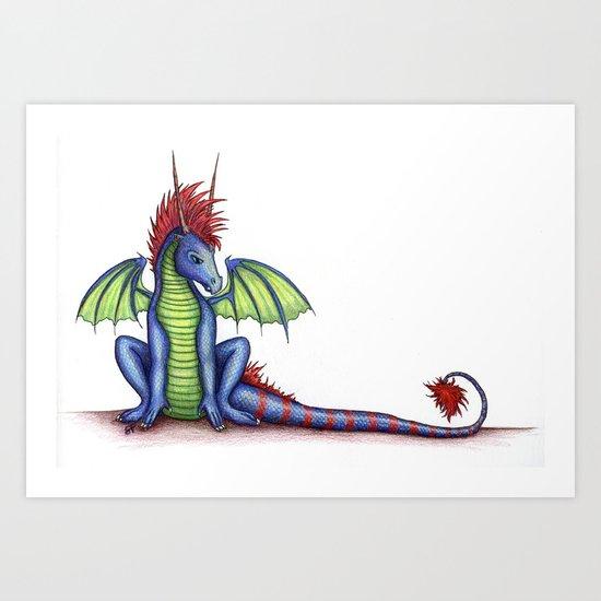 Striped Dragon Art Print