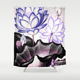 Pink Gray Lavender Sacred Egyptian Bean Temple of Flora Shower Curtain