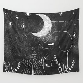 Elephant and Moon Wall Tapestry