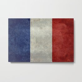 French Flag with vintage textures Metal Print