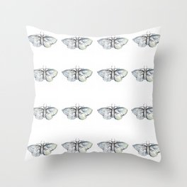 silver moth Throw Pillow