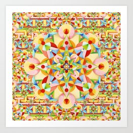 Rainbow Carousel Starburst Art Print